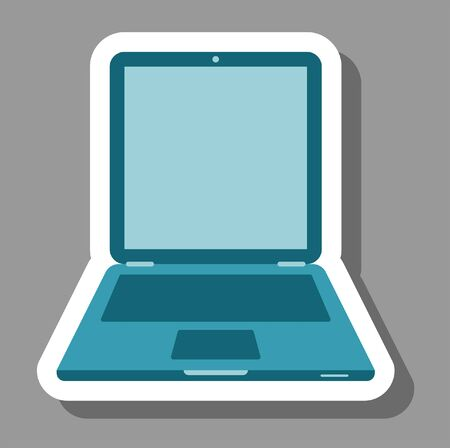 Laptop icon for presentation symbols. All the objects, shadows and background are in different layers. Illustration
