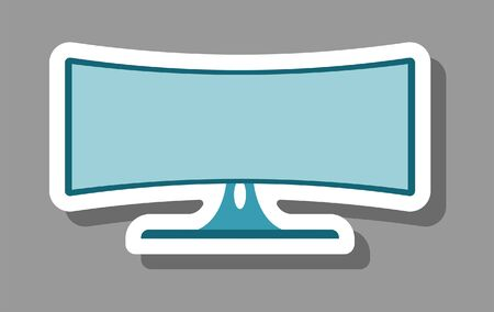 Curved tv icon for presentation symbols. All the objects, shadows and background are in different layers.