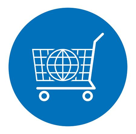 Digital marketing icon that symbolizes e-commerce. All the objects and background are in different layers. Vettoriali