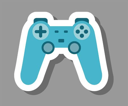 Gamepad icon that symbolizes videogames. All the objects, shadows and background are in different layers.