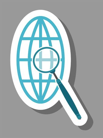 Magnify globe icon that symbolizes web search. All the objects, shadows and background are in different layers. Vettoriali