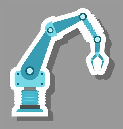 Robotic arm icon that symbolizes automotion. All the objects, shadows and background are in different layers.