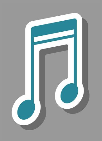 Music note icon that symbolizes melody and sound. All the objects, shadows and background are in different layers.