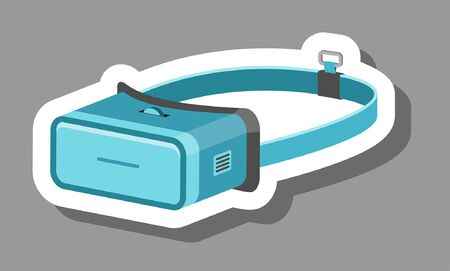 VR headset icon that symbolizes 3D and futuristic. All the objects, shadows and background are in different layers.  向量圖像
