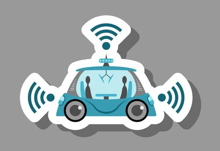 Self-driving car icon that symbolizes future technology and driverless. All the objects, shadows and background are in different layers.
