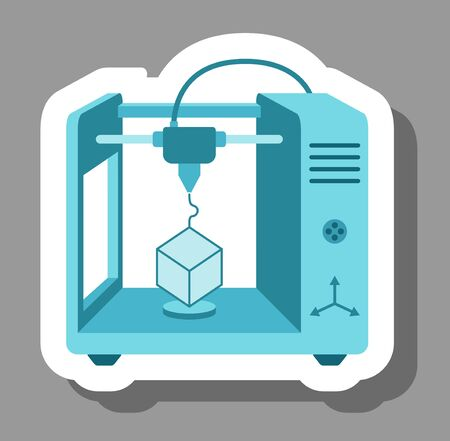 3D printer icon that symbolizes future technology. All the objects, shadows and background are in different layers. Vettoriali