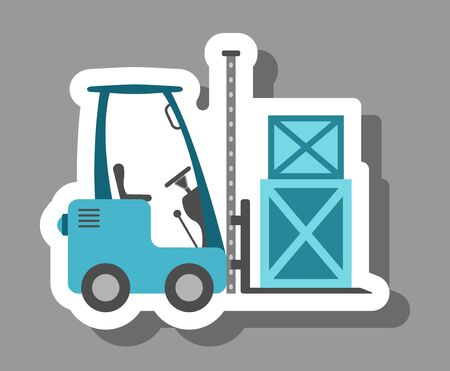 Forklift truck icon that symbolizes warehouse and distribution. All the objects, shadows and background are in different layers. Vettoriali