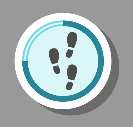 Step counter icon that symbolizes healty and running. All the objects, shadows and background are in different layers.  Vettoriali