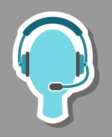 Call center icon that symbolizes helpline and telemarketing. All the objects, shadows and background are in different layers.