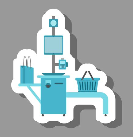 Self-checkout kiosks icon that symbolizes modern shopping and future technology. All the objects, shadows and background are in different layers.