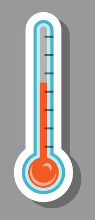 Thermometer icon that symbolizes health and body temperature. All the objects, shadows and background are in different layers.