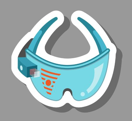 AR glasses icon that symbolizes wearable smart devices technology. All the objects, shadows and background are in different layers.