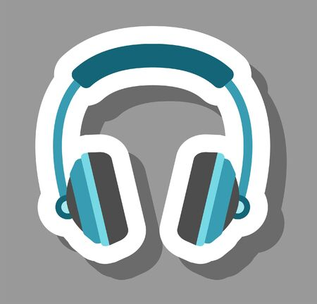 Headphone icon that symbolizes music and audio. All the objects, shadows and background are in different layers.