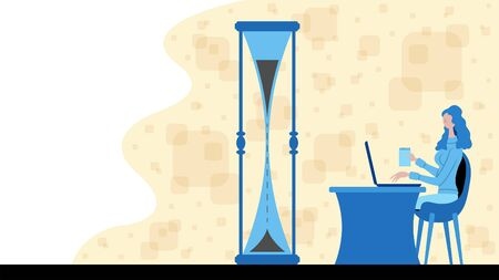 Business woman working for time management with a sand watch icon. All the objects, shadows and background are in different layers.