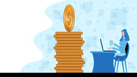 Business woman working for finance and investment with dollar coins icon. All the objects, shadows and background are in different layers.