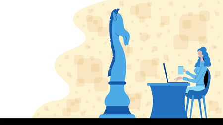 Business woman working for strategy with a chess horse icon. All the objects, shadows and background are in different layers.