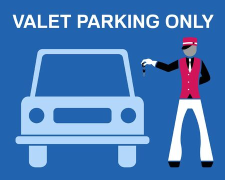 Valet parking only signboard desing with valet and car silhouette. All the objects are in different layers and the text types do not need any font. Ilustração