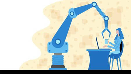 Business woman working for automation with a robotic arm icon. All the objects, shadows and background are in different layers. Vettoriali
