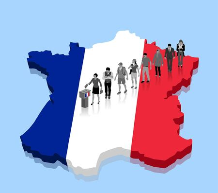 French citizens are voting for election over a France map. All the objects, shadows and background are in different layers. Vettoriali