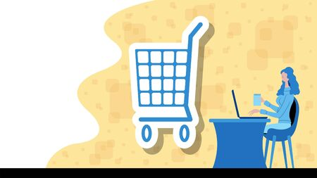 Business woman working for commerce and retail with a shopping cart icon. All the objects, shadows and background are in different layers. Vettoriali