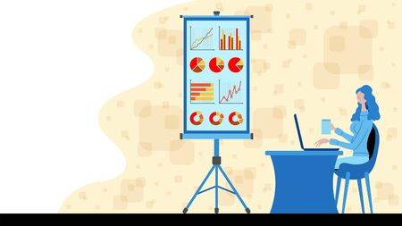 Business woman working for business statistics charts with a projection screen icon. All the objects, shadows and background are in different layers.