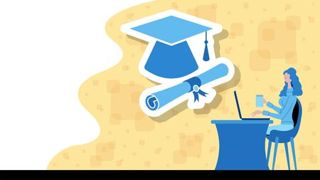 Business woman working for education with a graduation cap and diploma icon. All the objects, shadows and background are in different layers. Vettoriali
