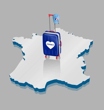 Wheeled bag with French cap over 3D France map for travel. All the objects are in different layers and the text types do not need any font.