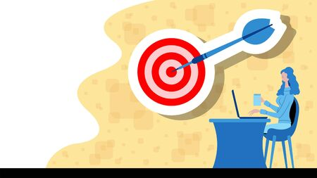 Business woman working for victory with a target and dart arrow icon. All the objects, shadows and background are in different layers.
