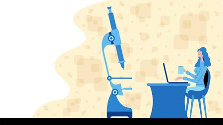 Business woman working for science and analysis with a microscope icon. All the objects, shadows and background are in different layers.