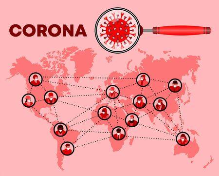 Masked people profiles and corona virus icon are over World map. All the objects are in different layers and the text types do not need any font.