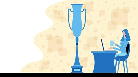 Business woman working for victory with a trophy cup icon. All the objects, shadows and background are in different layers.