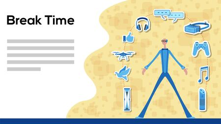 Business manager working for break time with icons. All the objects, shadows and background are in different layers and the text types do not need any font.