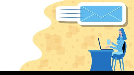Business woman writing message with a email icon. All the objects, shadows and background are in different layers.