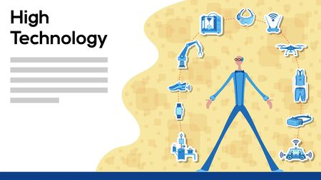 Business manager working for High Technology with icons. All the objects, shadows and background are in different layers and the text types do not need any font. Vettoriali
