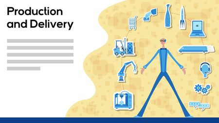 Business manager working for production and delivery with icons. All the objects, shadows and background are in different layers and the text types do not need any font.