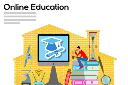 Online education with computer in home office. All the objects, shadows and background are in different layers and the text types do not need any font.