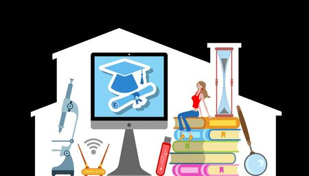 A student studying at home with e-learning. All the objects, shadows and background are in different layers.