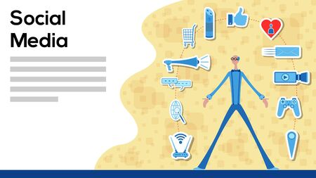 Business manager working for social media with icons. All the objects, shadows and background are in different layers and the text types do not need any font.