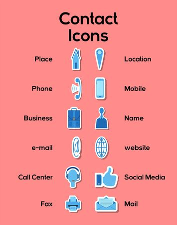 Contact icons group set in blue tones. All the objects, shadows and background are in different layers and the text types do not need any font.