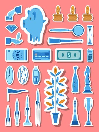 Banking and finance icons group set in blue tones. All the icon objects, shadows and background are in different layers. Illustration