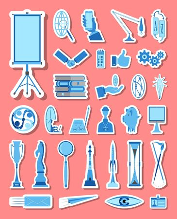 Business and management icons set in blue tones. All the icon objects, shadows and background are in different layers.