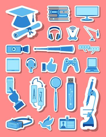 Education and school icons set in blue tones. All the icon objects, shadows and background are in different layers. Vettoriali