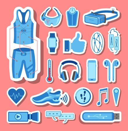 Wearable technology icons group set in blue tones. All the icon objects, shadows and background are in different layers.