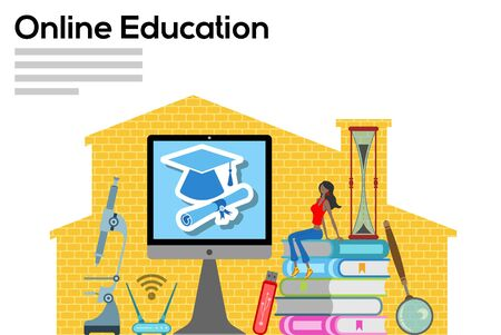 Online education with computer in workplace. All the objects, shadows and background are in different layers and the text types do not need any font.