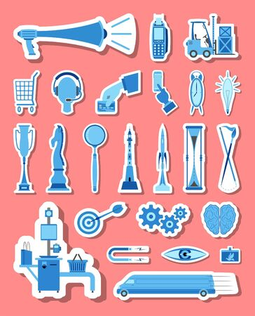 Marketing and commerce icons set in blue tones. All the icon objects, shadows and background are in different layers.
