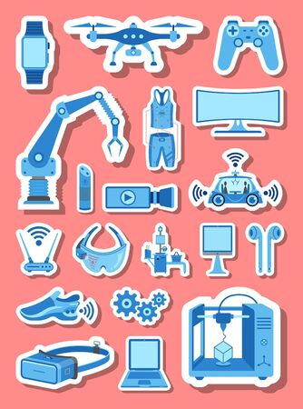 High technology icons group set in blue tones. All the icon objects, shadows and background are in different layers. Vettoriali