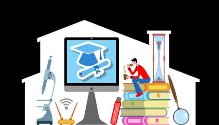 A student studying at home for graduation. All the objects, shadows and background are in different layers. Vettoriali