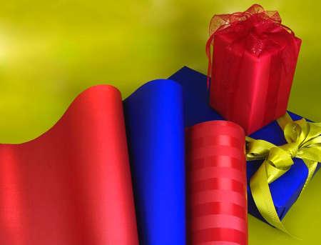 giftwrap solids red blue on lime background Reklamní fotografie