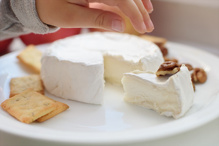 Cheese with white mold. Camembert or brie type.