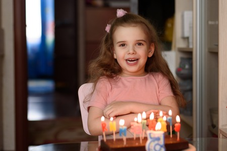 Little girl blowing out candles on a birthday cake on her birthday copy space